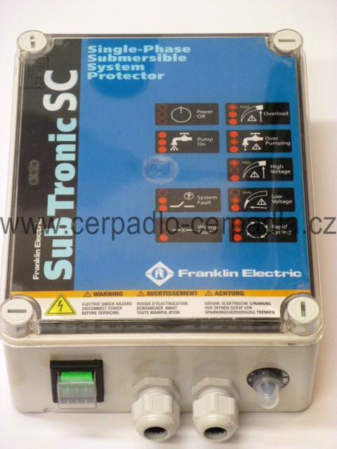 Franklin SubTronicSC 1,1kW-230V-50Hz,HP 1,5 , 10A, 40mi, čerpadla Calpeda 4 SDFM (Sub TronicSC,PSC motor starter ST110PSC)