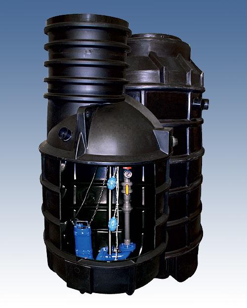 čerpací jímka HCP 1100C C50A16, pro 1 čerpadlo s plovákem + T2-80 (čerpací jímka HCP + SZ , bez čerpadla !)