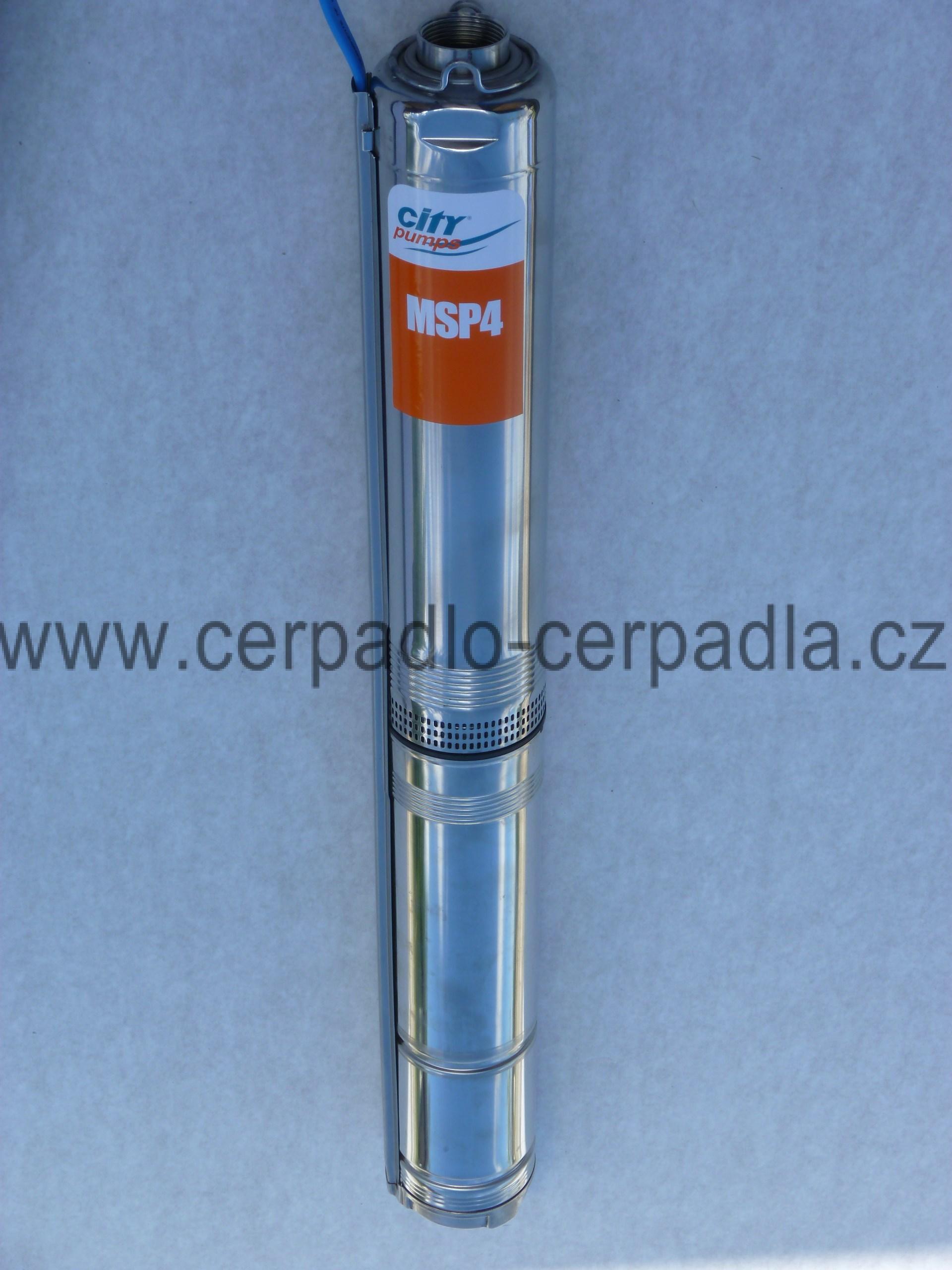 2MSP10-4 ponorné čerpadlo 45m kabel 230V, City Pumps (ponorná nerezová čerpadla MSP 4 do vrtu, ponorné čerpadlo City Pumps)