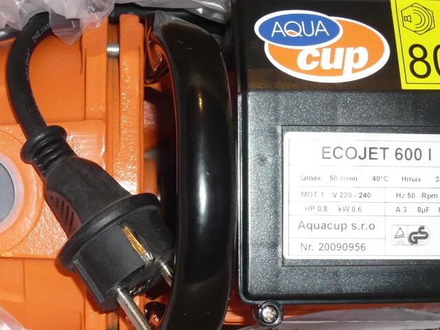 ECOJET 600 l, čerpadlo Aquacup (samonasávací čerpadlo, ECOJET 600)