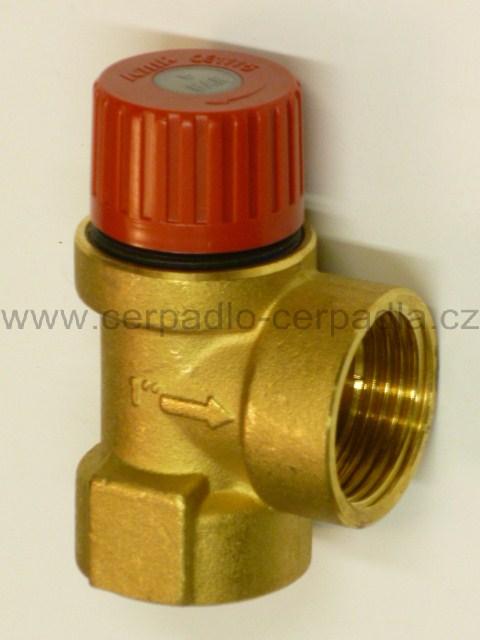 Pojistný ventil 1'' mosazný, 6 BAR (Pojistný ventil 1'' topenářský)