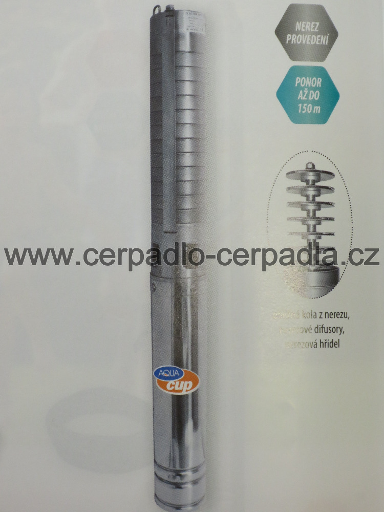 ELECTRA INOX 42/92 T, 400V, 1m kabel, ponorné čerpadlo AQUACUP (ELECTRA INOX 42/92 T, 400V AQUACUP, čerpadla)