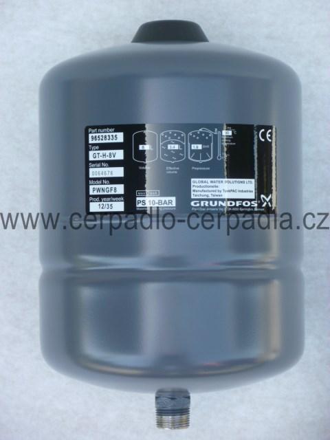 tlaková nádoba 8 litrů pro čerpadlo, GRUNDFOS SQE, 96528335 (tlakové nádoby pro ponorná čerpadla GRUNDFOS SQE 2-55, SQE 3-65, SQE 2-85, SQE 2-70...)