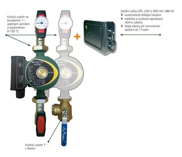 KIT DAB.EVOSTA 40-70/180 UPS, sada se záložním zdrojem, bez šroubení (záložní zdroj UPS pro oběhové čerpadlo DAB, oběhová čerpadla)