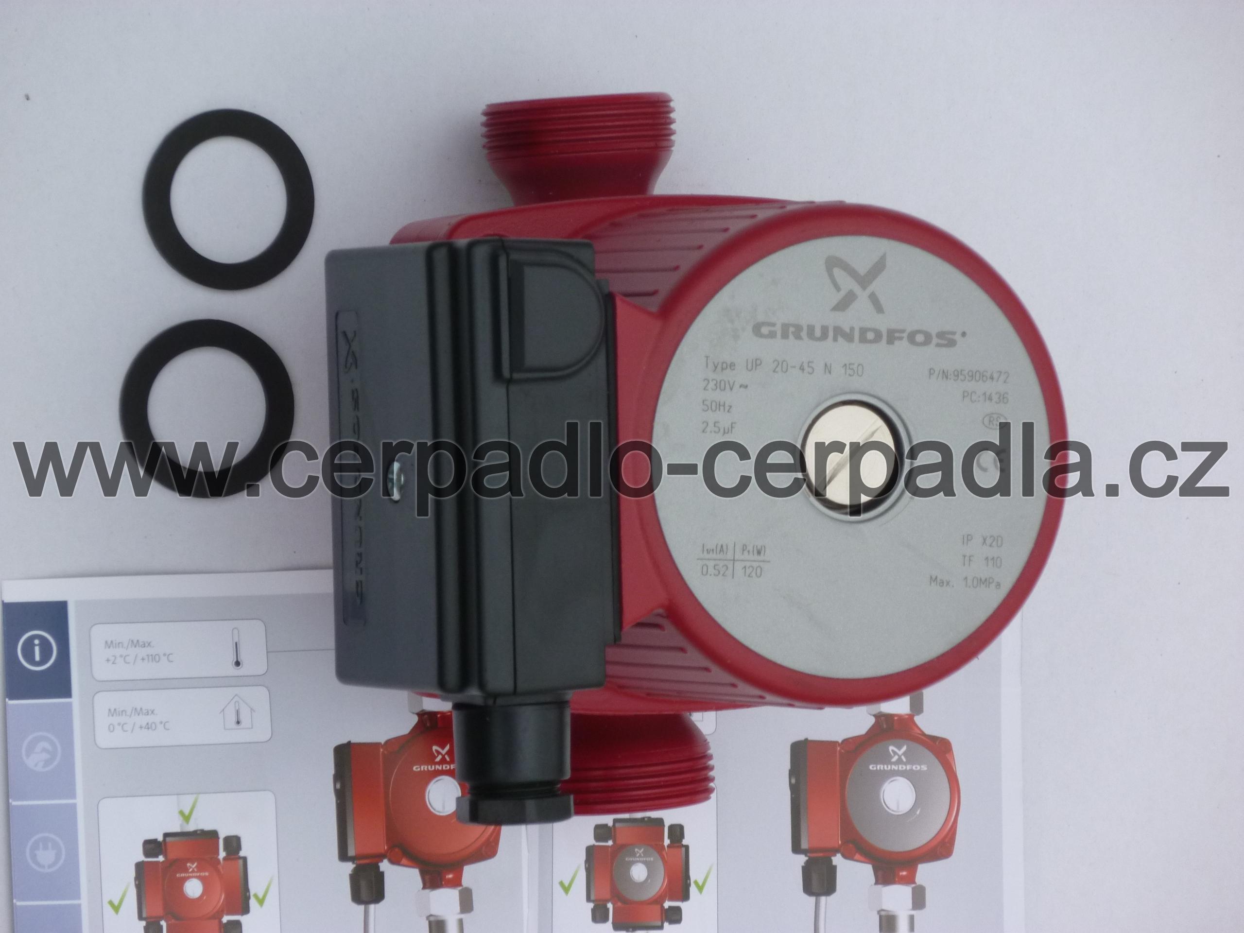 Grundfos UP 20-45 N 150 (PN10, oběhové čerpadlo, 95906472, DOPRAVA ZDARMA, čerpadla Grundfos UP 20-45 N)