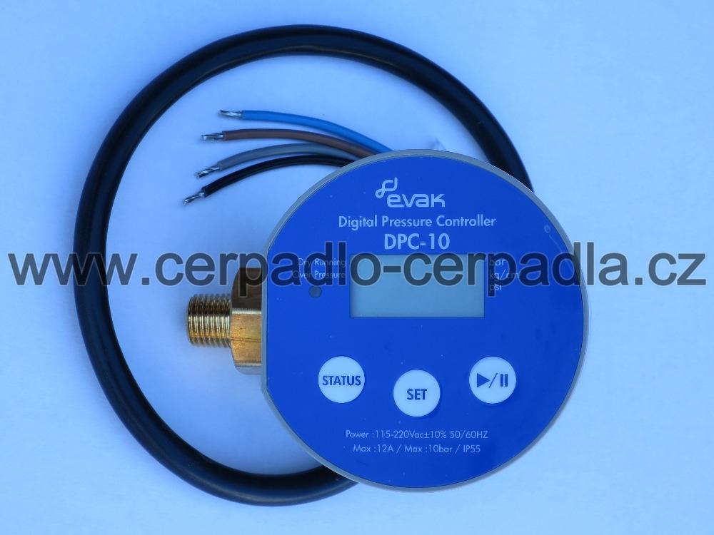 EVAK DPC 10 0,5 digitální tlakový spínač, 230V, 12A, kabel 0,5m