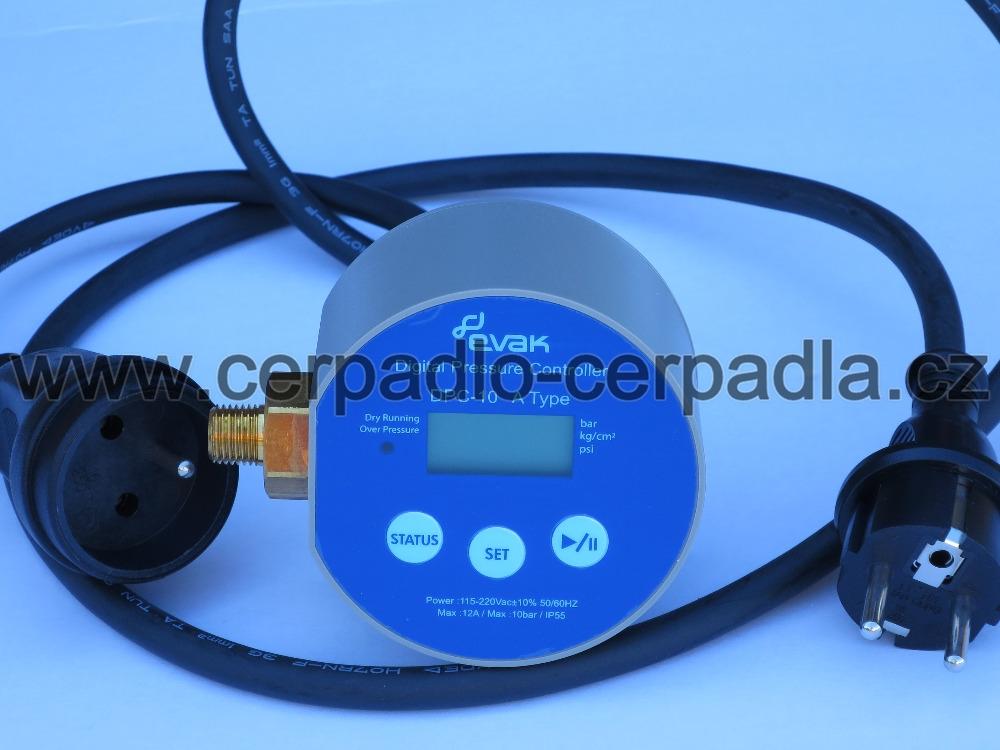 EVAK DPC 10-A, s vidlicí a zásuvkou, digitální tlakový spínač