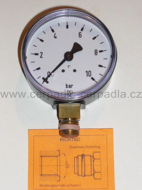 Manometr RF 63 - 10 BAR G 1/4 A - spodní vývod (Manometr)