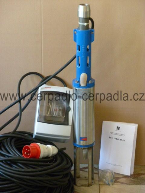 """PCH 1"""" T4S 85-10 400V 60m kabel čerpadlo na čištění vrtů, čerpadla (1""""PCH T4S-85-10 s vířičem)"""